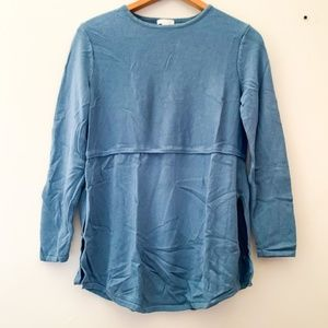 J. Jill    Petite Light Blue Paneled Wool Sweater